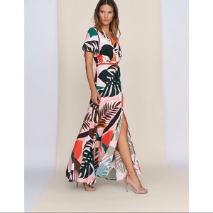 Hutch Kiera Tropical Print Wrap Dress XS